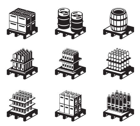 storage warehouse: Carbonated and alcoholic drinks Illustration