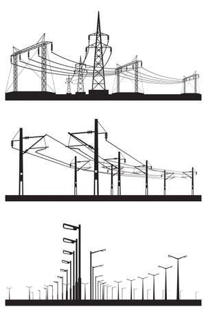 Instalaciones eléctricas establece la ilustración Foto de archivo - 31064542