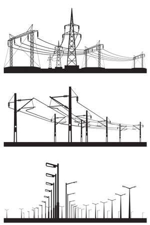 Electrical installations set illustration