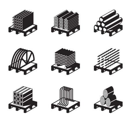 palet: Materiales de construcción metálicos - ilustración vectorial