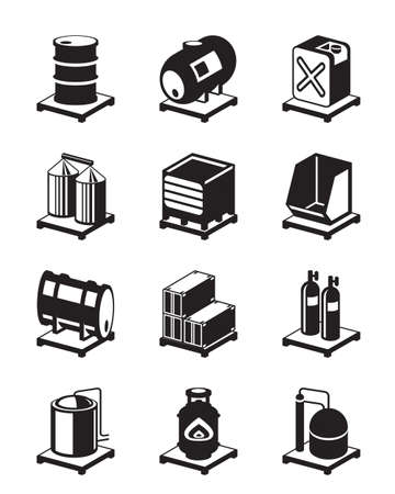 Metal containers icon set - vector illustration