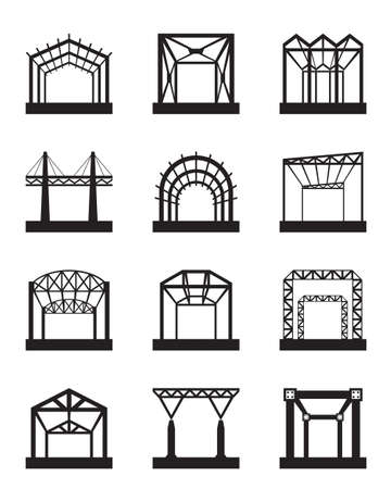 steel structure: Metal structures icon set