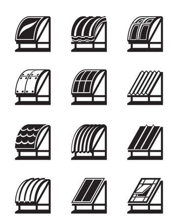 materiali edili: Materiali da costruzione moderni per tetti - illustrazione vettoriale Vettoriali