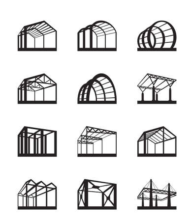 roof construction: Metal structures in perspective illustration