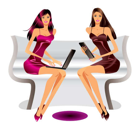 computer case: Two fashion models with laptop and tablet