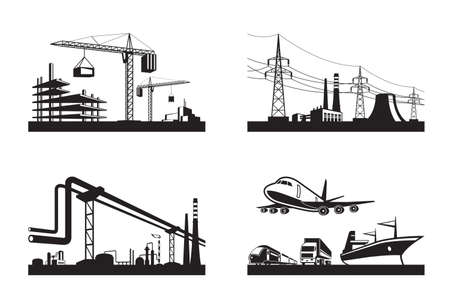 Different types of industries - vector illustration Stock Illustratie