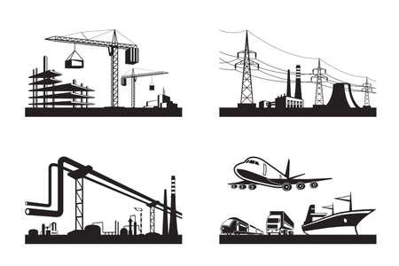 Verschillende soorten industrieën - vector illustratie Stockfoto - 34676698