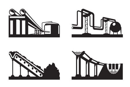 Warehouses for natural resources illustration