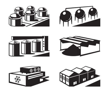 warehouse equipment: Commercial and industrial warehouses - vector illustration