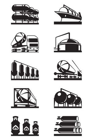 gas pipe: Gas tank terminals - vector illustration