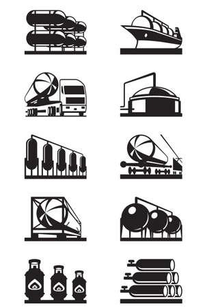tank ship: Gas tank terminals - vector illustration