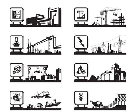 Diferentes industrias con logotipos Foto de archivo - 35235154
