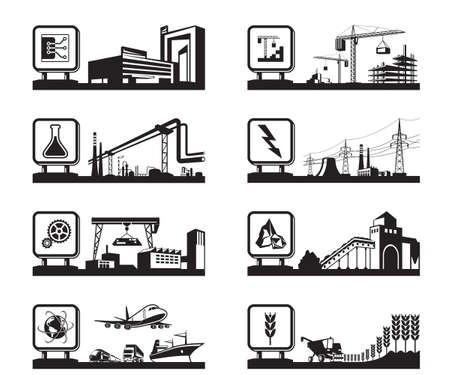 warehouse building: Different industries with logos  Illustration