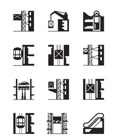 Lifts and elevators icon set - vector illustration