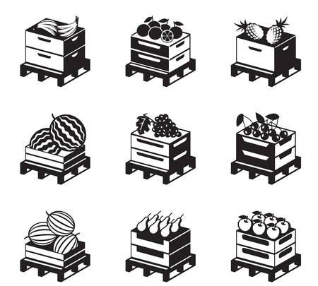 palet: Paletas con frutas ilustración Vectores