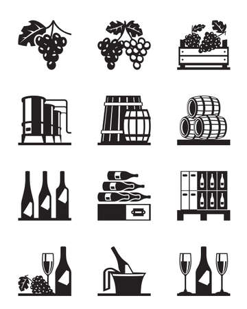 grapes wine: Grapes and wine icon set - vector illustration