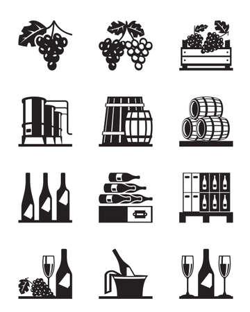 glas sekt: Trauben und Wein Icon Set - Vektor-Illustration Illustration