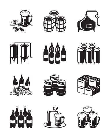 Beer and brewery icon set - vector illustration