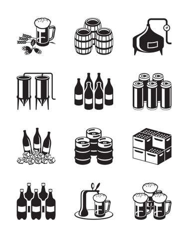 Pivo a pivovar sady ikon - vektorové ilustrace Ilustrace