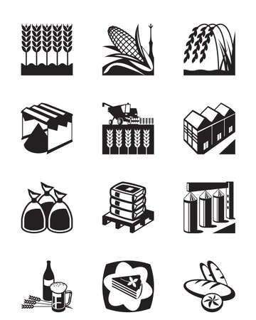Production and processing of grain cereals - vector illustration Stock Illustratie