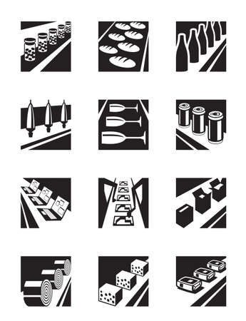 assembly: Different assembly lines - vector illustration