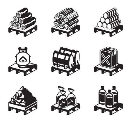 holzbriketts: Für feste Brennstoffe für den Hausgebrauch - Vektor-Illustration