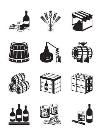 whisky: La production de whisky et le brandy - illustration vectorielle