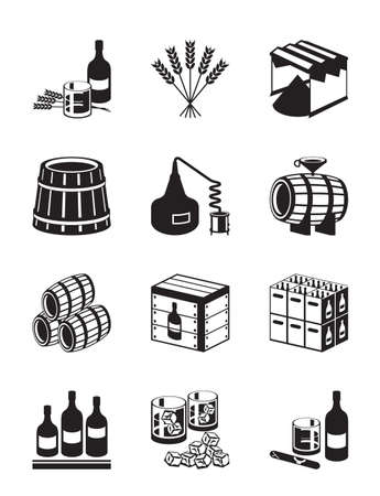 Productie van whisky en brandy - vector illustratie Stock Illustratie