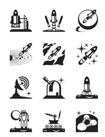 mision: Aeroespacial conjunto misi�n de iconos - ilustraci�n vectorial