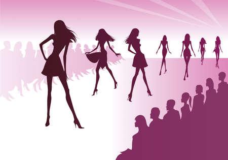 catwalk model: Fashion models represent new clothes - vector illustration Illustration