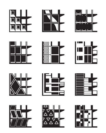 cladding tile: Different types of facades of buildings - vector illustration Illustration