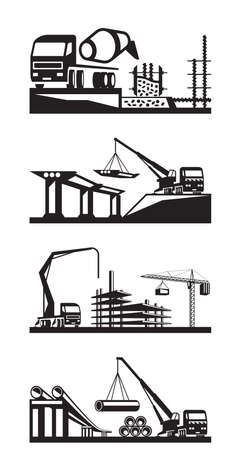 concrete mixer truck: Various types of construction scenes - vector illustration