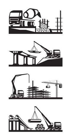 concrete pump: Various types of construction scenes - vector illustration