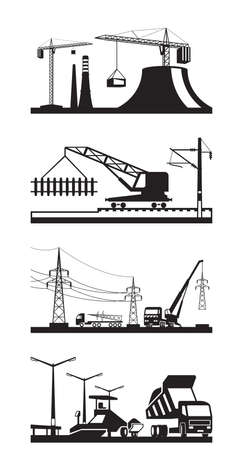 power pole: Different types of construction scenes - vector illustration Illustration