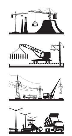 lighting column: Different types of construction scenes - vector illustration Illustration