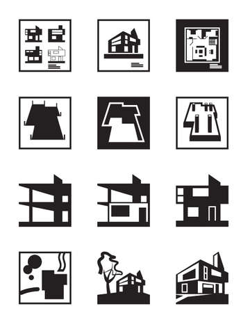 refurbishment: Stages of construction of building - vector illustration Illustration