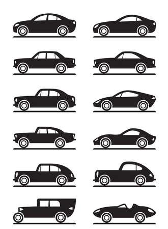 coupe: Modern and vintage cars - vector illustration Illustration