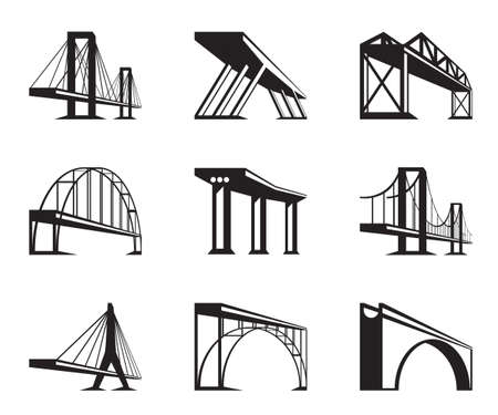 rope bridge: Different bridges in perspective  Illustration