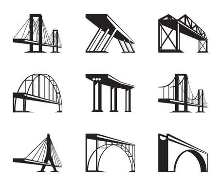 Different bridges in perspective  Illustration