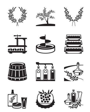 Olives and production of olive oil - vector illustration Çizim