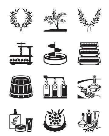 Olives and production of olive oil - vector illustration Illustration