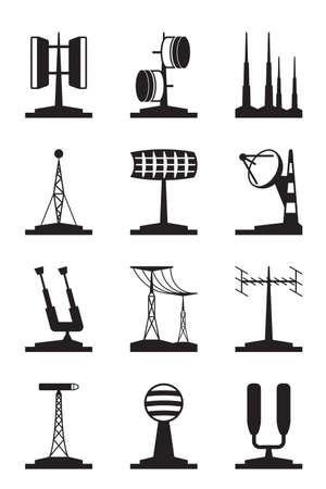 telescopic: Varias antenas y localizadores - ilustraci�n vectorial
