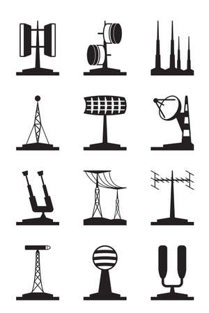 dipole: Various antennas and locators - vector illustration