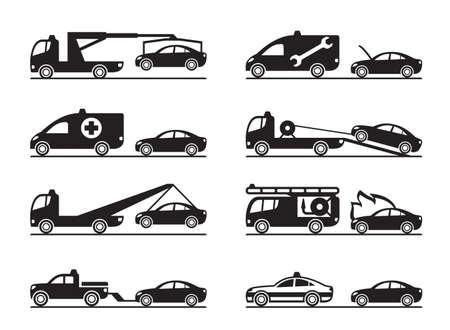 roadside assistance: Emergency situations on road - vector illustration Illustration