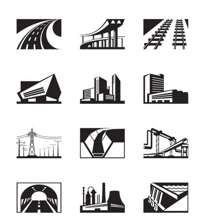 power pole: Different industrial construction - vector illustration
