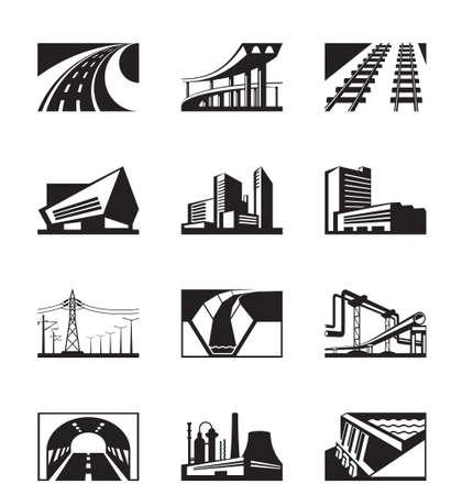 lighting column: Different industrial construction - vector illustration
