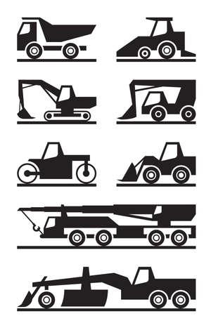 truck crane: Road construction machinery - vector illustration