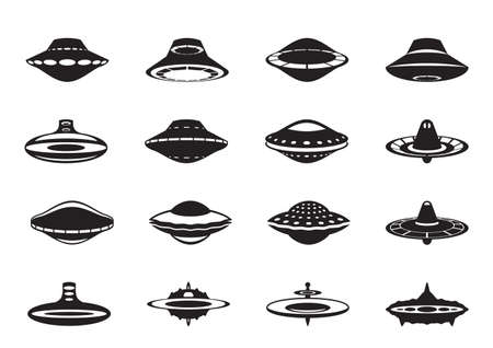 spaceport: Different flying saucers - vector illustration