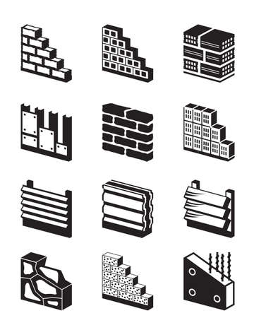 concrete block: Construction materials for walls - vector illustration