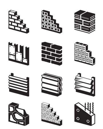 materiales de construccion: Los materiales de construcci�n para las paredes - ilustraci�n vectorial Vectores